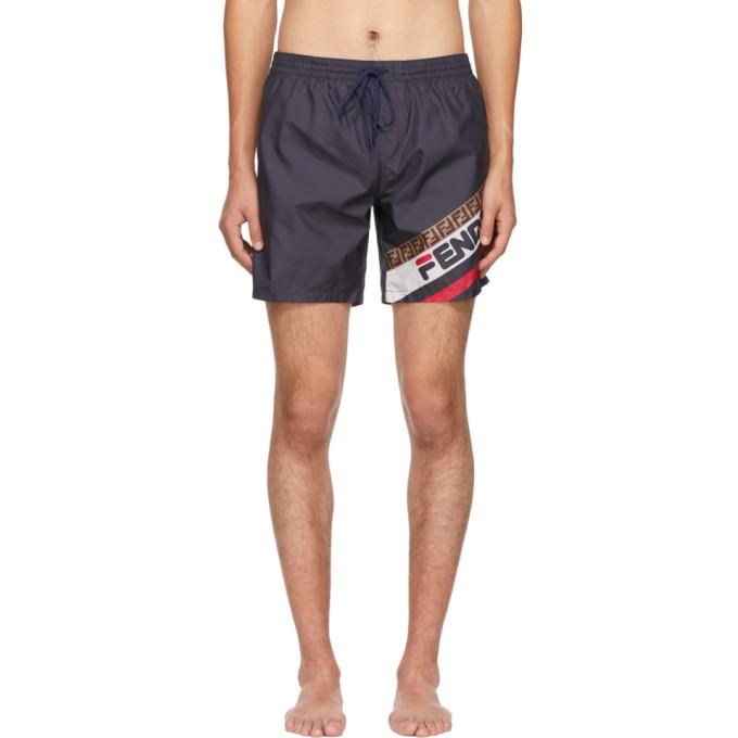 Navy 'fendi Mania' Tech Swim Shorts by Fendi