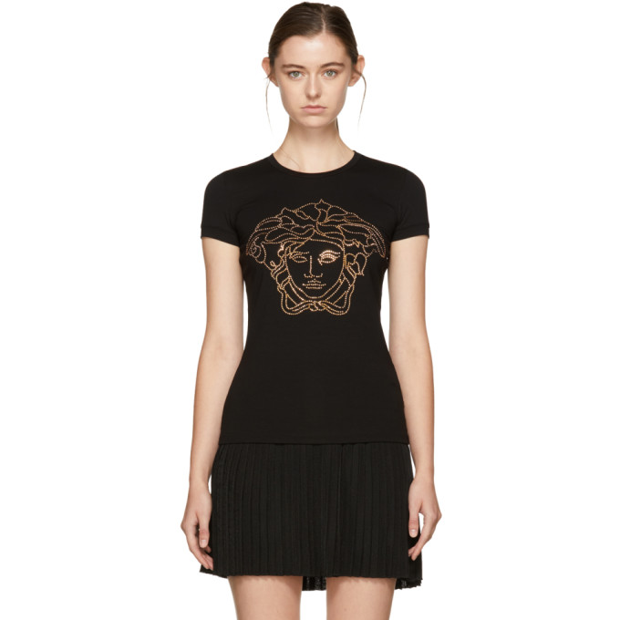 Crystal-Embellished Medusa T-Shirt, Nero