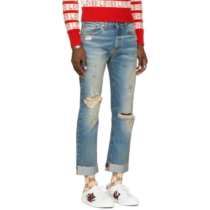 GUCCI Slim-Fit Embroidered And Distressed Denim Jeans in Blue