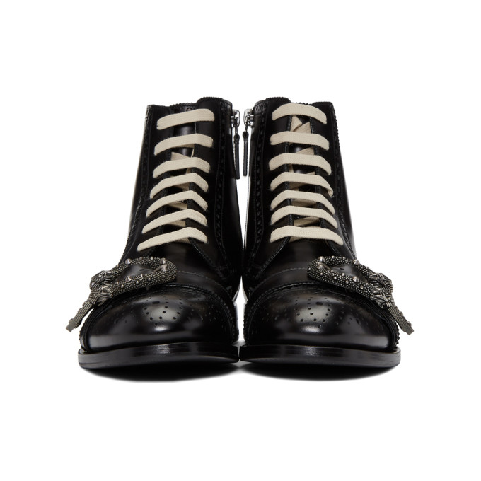 Gucci Dionysus Buckle-Strap Leather Wingtip Boots - Black Size 9 M