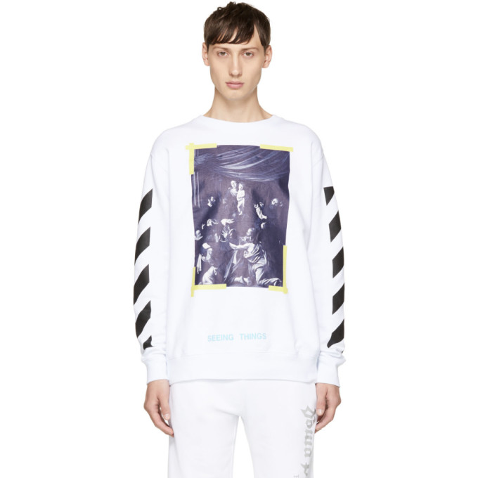OFF-WHITE WHITE DIAGONAL CARAVAGGIO SWEATSHIRT