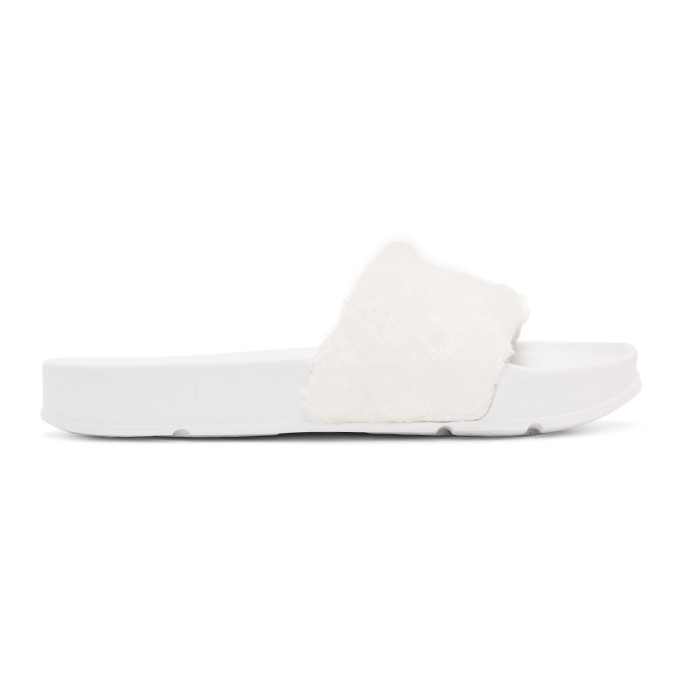 White Fila Edition Shearling Drifter Slides
