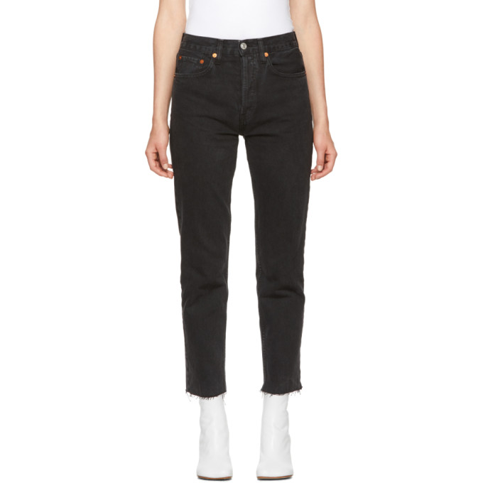 Black Originals High-Rise Stovepipe Jeans, Washed Black