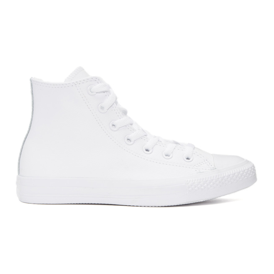 White Leather Ctas High Top Sneakers by Converse