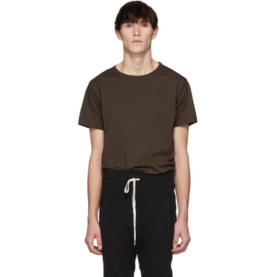 Brown Classic Crew T Shirt by John Elliott