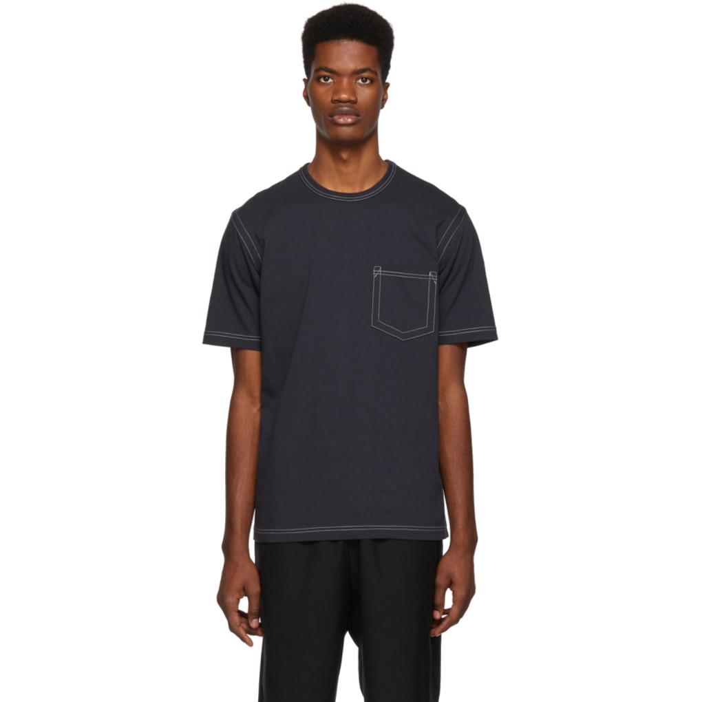 Grey Contrast Stitch T Shirt by Comme Des GarÇons Homme