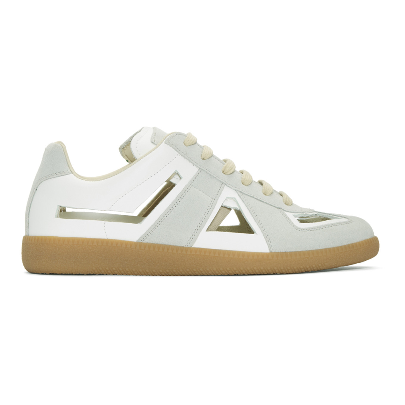 White & Grey Decortique Cut Out Replica Sneakers by Maison Margiela