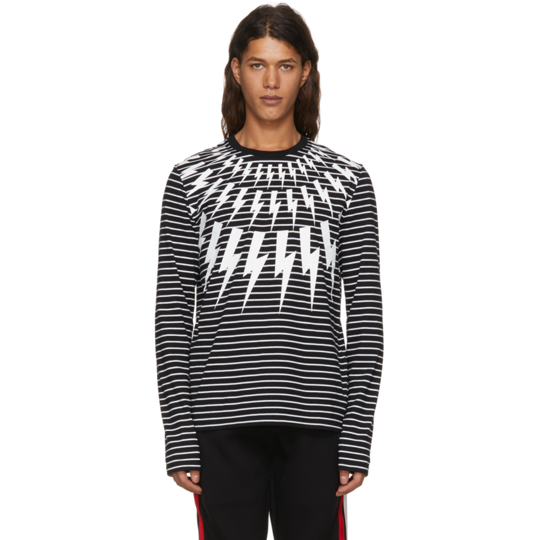 Black & White Striped Long Sleeve Fairisle T Shirt by Neil Barrett