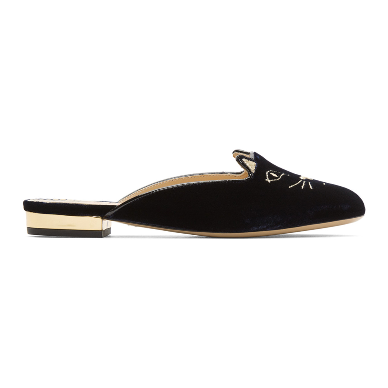 Navy Velvet Kitty Slippers by Charlotte Olympia