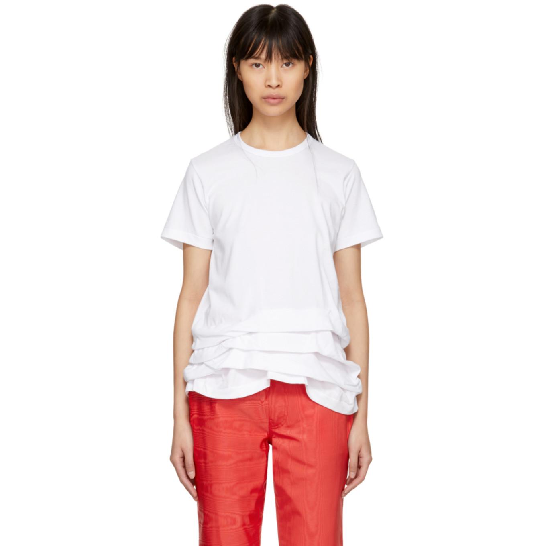 T Shirt à Volants Blanc by Comme Des GarÇons Comme Des GarÇons