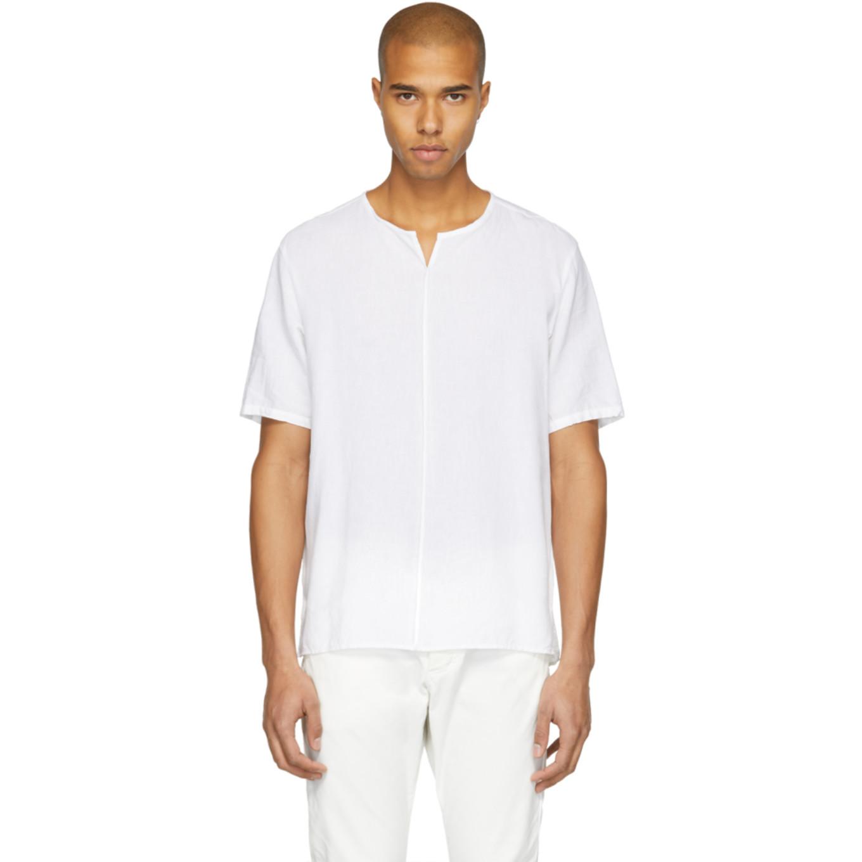 White Linen T Shirt by Attachment