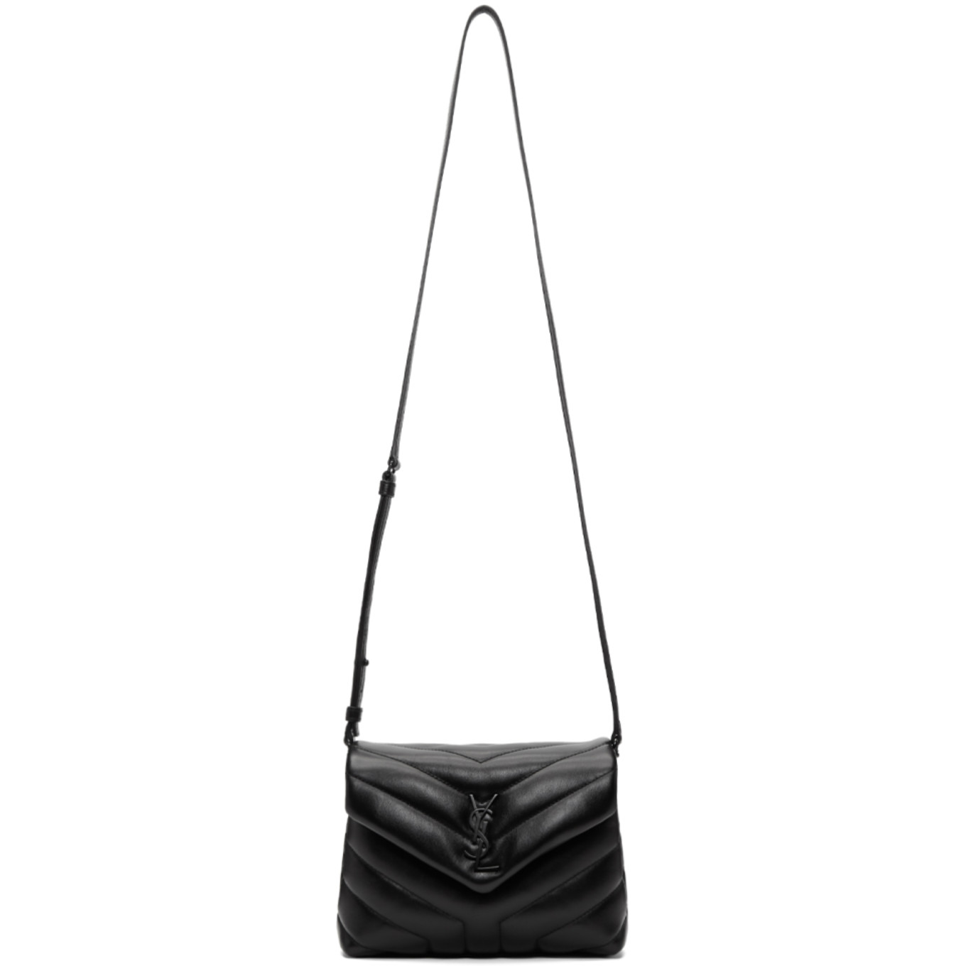 Black Quilted Toy Loulou Strap Bag by Saint Laurent