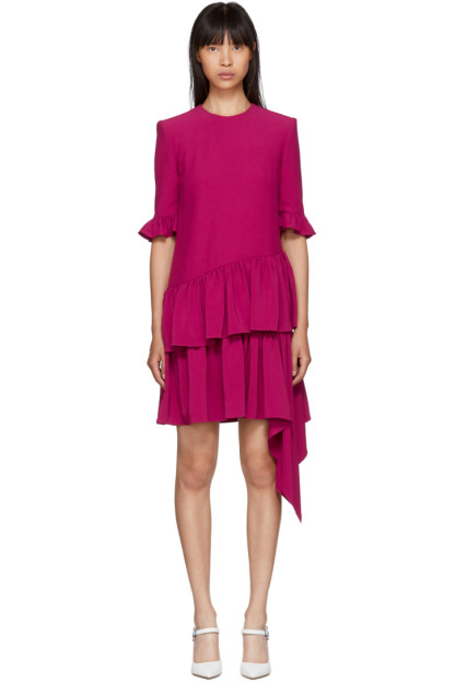 Alexander McQueen - Pink Asymmetric Drape Dress