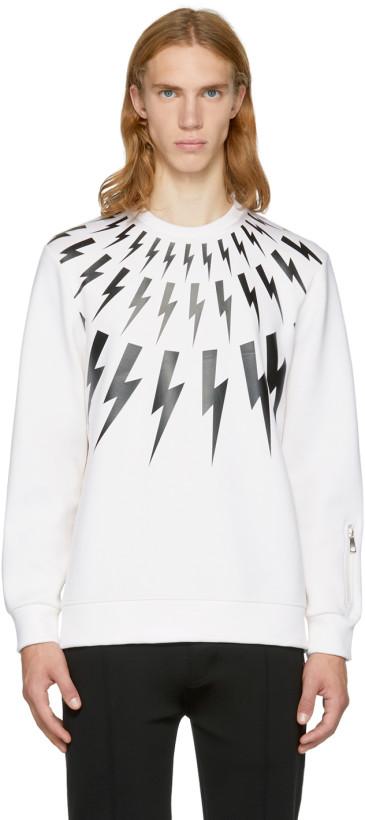Neil Barrett Off-White & Black Fairisle Thunderbolt Zip Sweatshirt