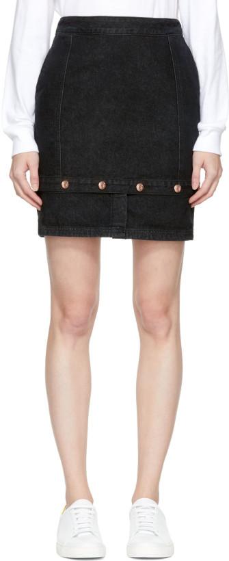 SJYP Black Panelled Denim Skirt
