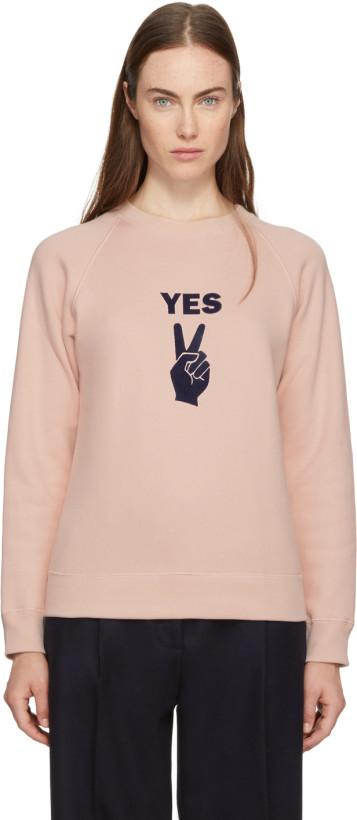 Alexachung Pink 'YES' Peace Sign Sweatshirt