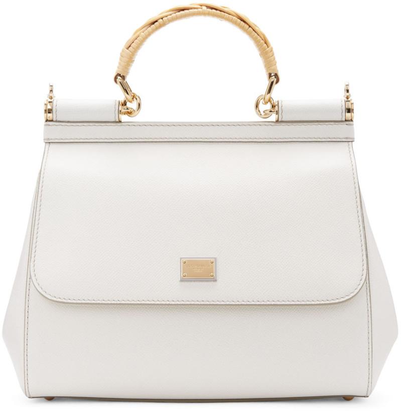 Dolce & Gabbana White Iguana Medium Miss Sicily Bag