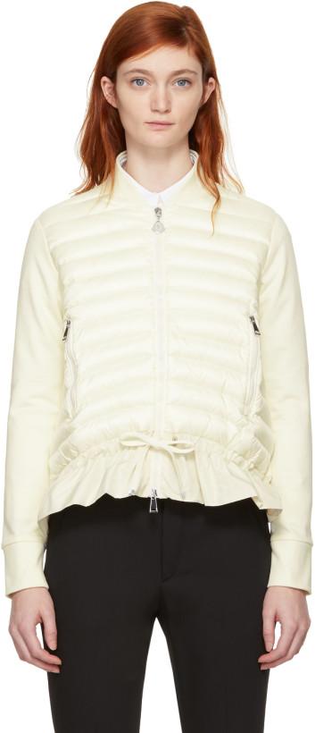Moncler White Down Cardigan Jacket