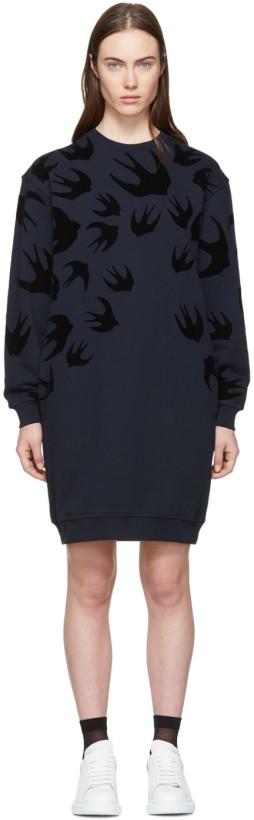 McQ Alexander McQueen Navy Swallow Signature Sweatshirt Dress