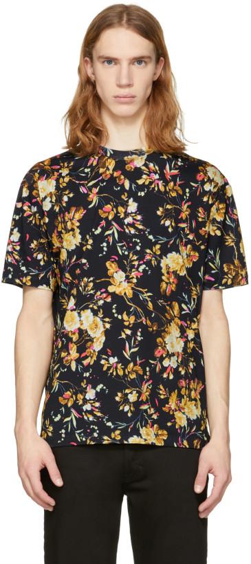 McQ Alexander McQueen Black Floral Drop Shoulder T-Shirt