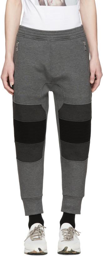 Neil Barrett Black & Grey Biker Lounge Pants