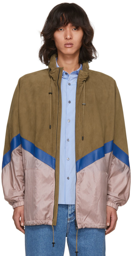 Fendi Brown Suede & Nylon Windbreaker Jacket