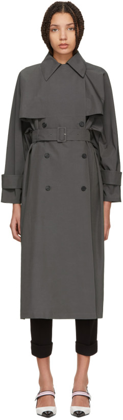 Prada Grey Double-Breasted Trench Coat