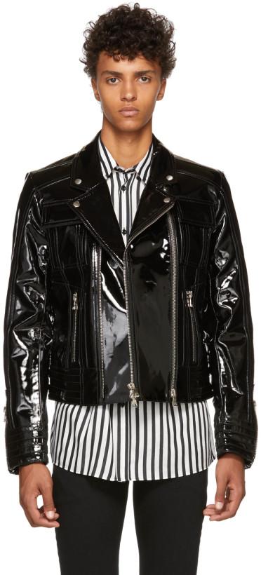 Balmain Black Varnished Leather Jacket