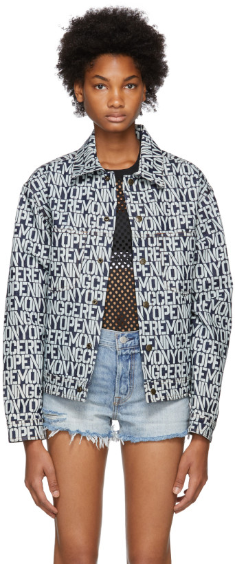Opening Ceremony White & Indigo Denim Printed Logo Jacket