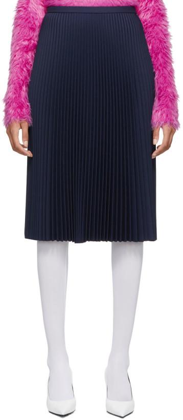 Balenciaga Navy Pleated Skirt