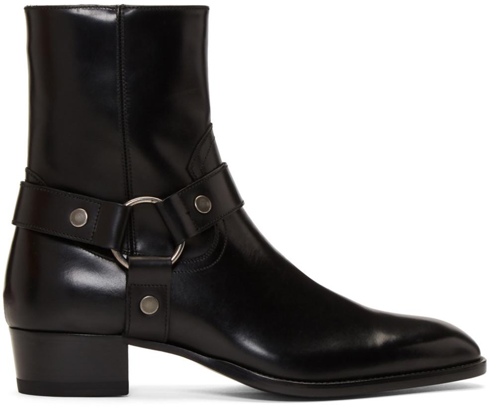 Saint Laurent Men's Black Wyatt Harness Boots