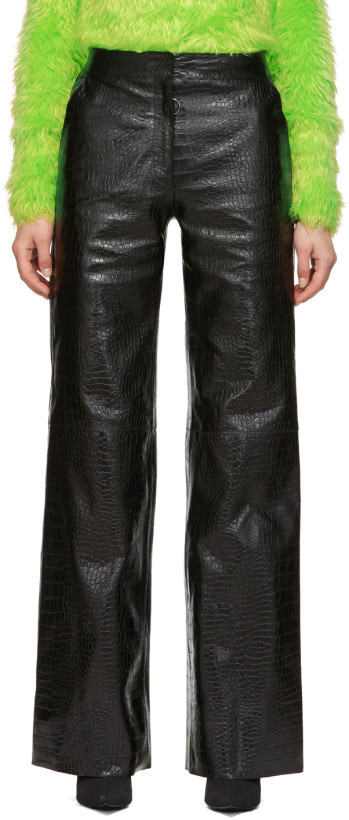 Off-White Black Croc Leather Wide Pants