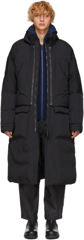 Issey Miyake Men Black Down Convertible Washed Jacket