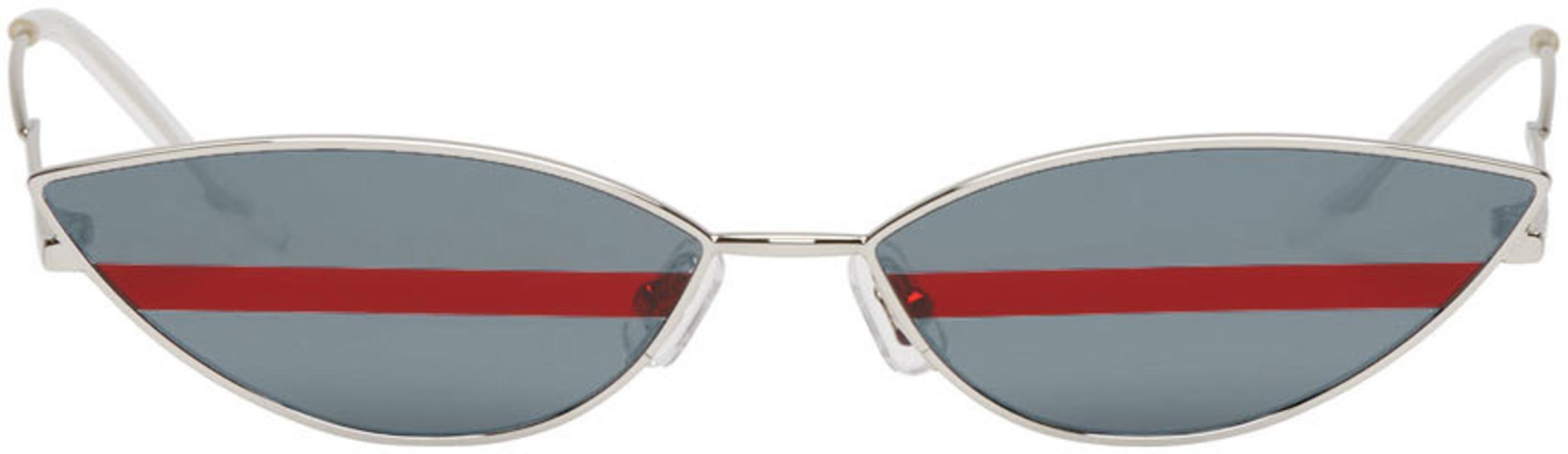 Gentle Monster Silver Stripe Poxy Sunglasses