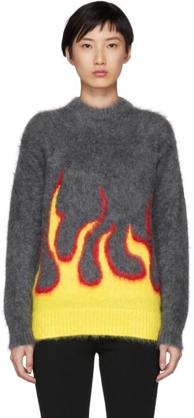 Prada Grey Mohair Flame Crewneck Sweater