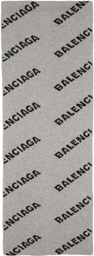 Balenciaga Grey & Black Allover Logo Scarf