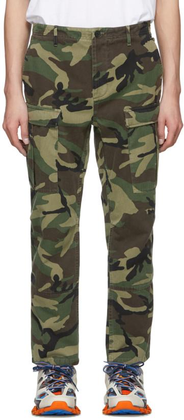 Balenciaga Men's Green Gabardine Camo Cargo Pants