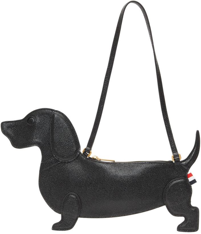 Thom Browne Black Hector Icon Dachshund Flat Clutch Bag