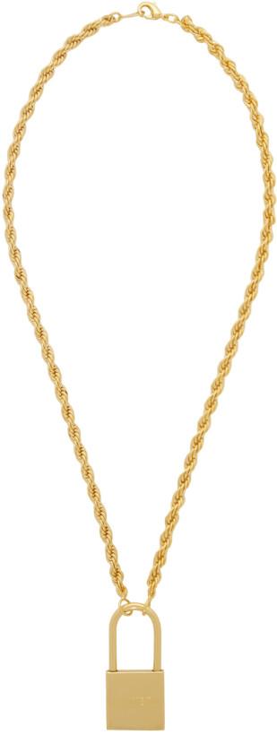 Heron Preston Gold Padlock Necklace