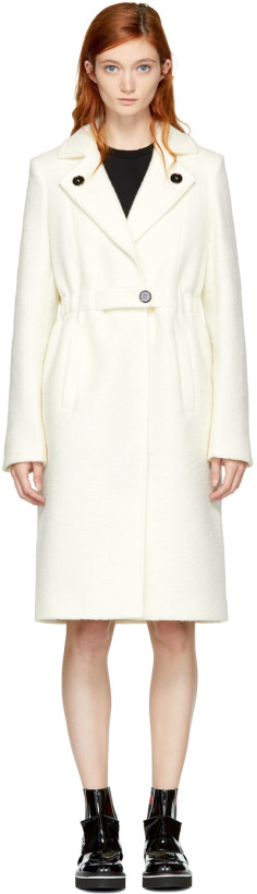 Carven Women's White Wool Trench Coat