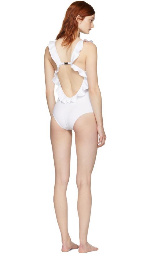 Fendi - White Ruffle Swimsuit