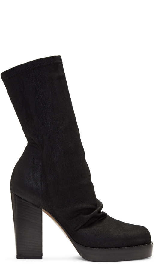 Rick Owens - Black Chunky Sock Boots