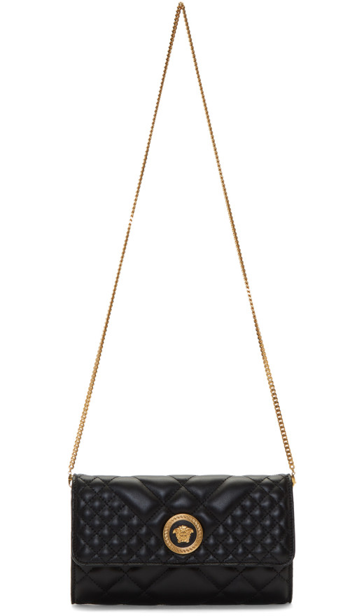 Versace - Black Quilted Continental Chain Wallet Bag