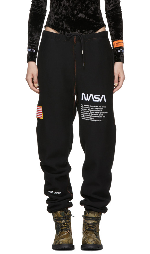 Heron Preston - Ssense Exclusive Black Nasa Edition Lounge Pants