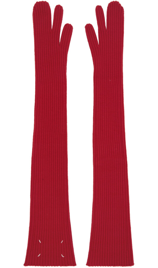 Maison Margiela - Red Long Tabi Mittens
