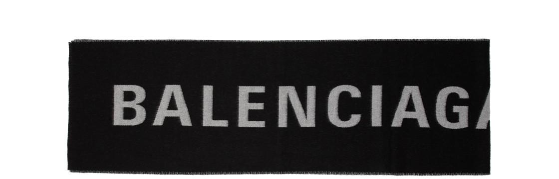 Balenciaga - Black And White Logo Scarf