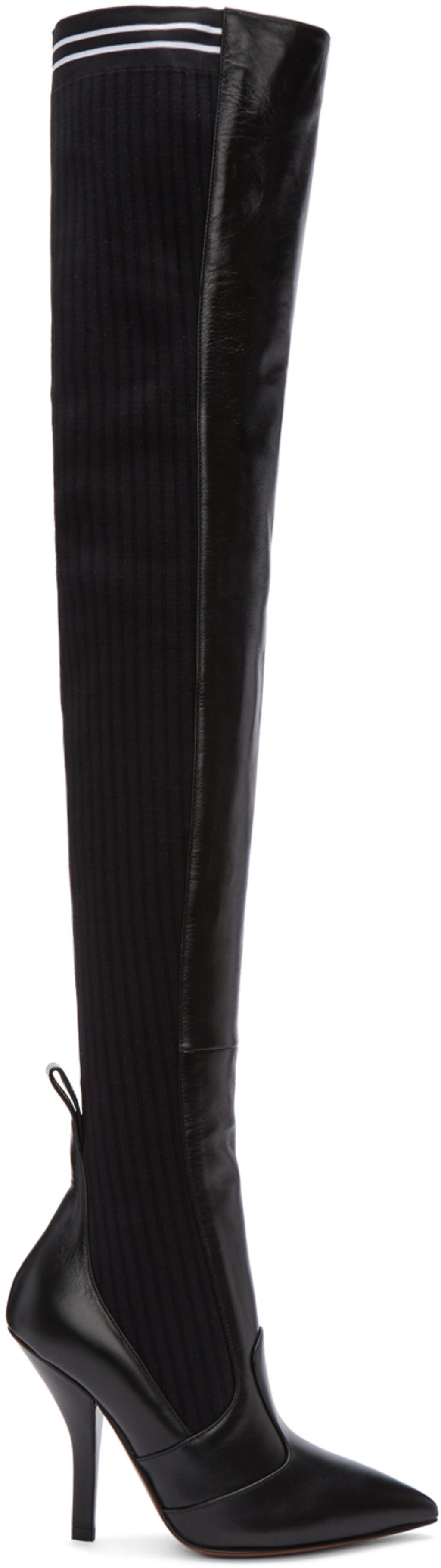 Prada Black Mexas Knee-High Boots OA8BOY
