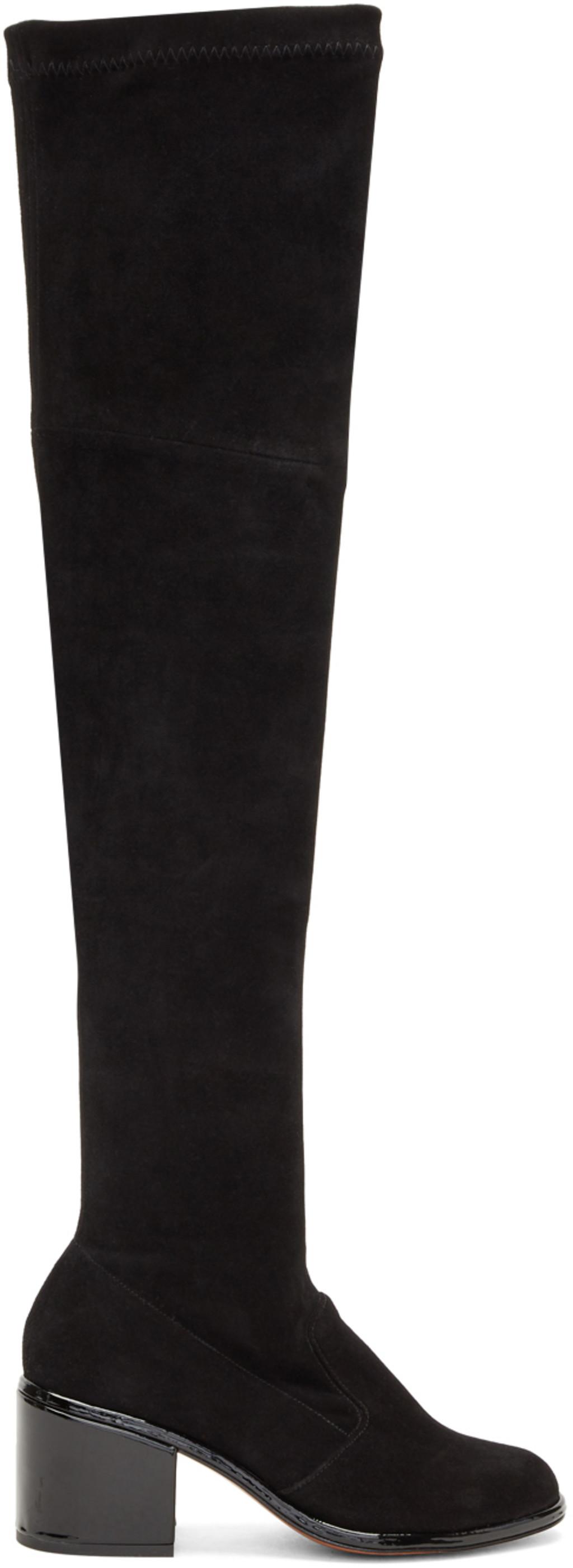 Valentino Navy Velvet Lune Tall Boots