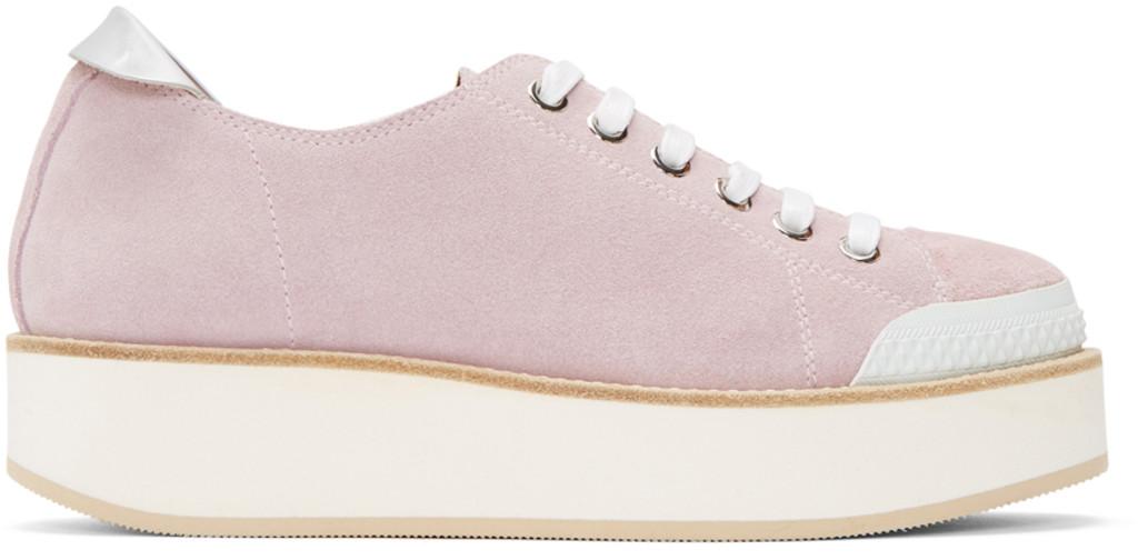 SSENSE Exclusive Grey Tatum Suede Sneakers Flamingos