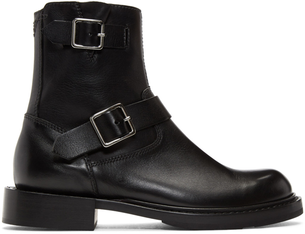 Heron Preston Black Cropped Blucher Lace-Up Boots